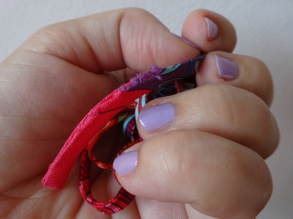 fraying Hermès silk ribbon, nail polish essence 184 little lila town