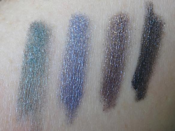 Swatch GOSH Forever Eyeshadow 08 green, 07 blue, 06 plum, 05 grey