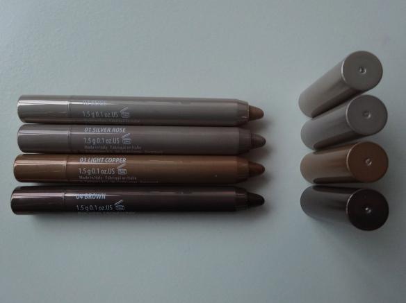 GOSH Forever Eyeshadow 02 beige, 01 silver rose, 03 light copper, 04 brown