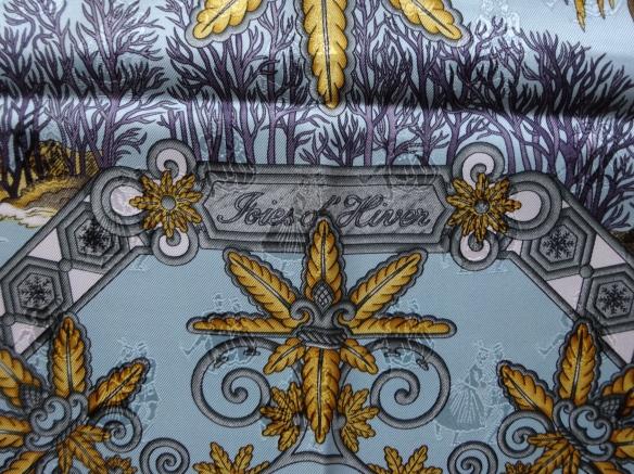 Hermès Joies d'Hiver jacquard silk scarf detail