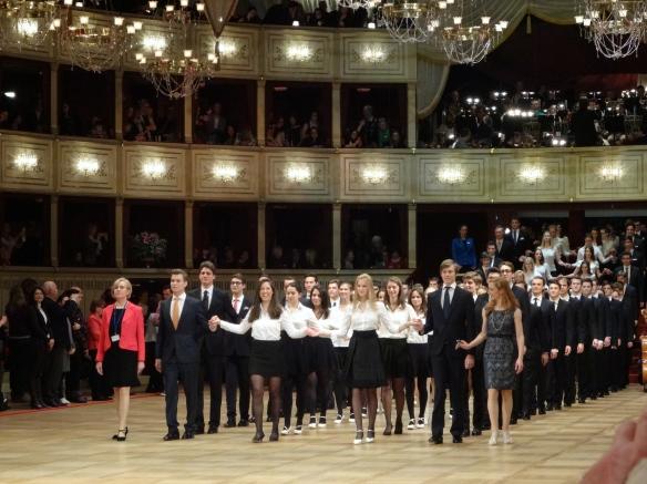 Debutantes of the Vienna Opera Ball 2015 entering the ball room (rehearsal)